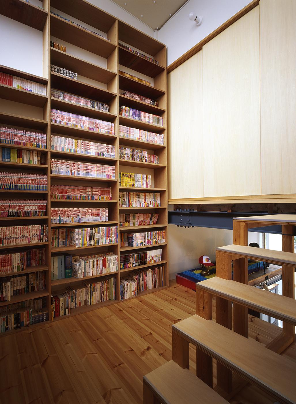 スキップフロア、本棚